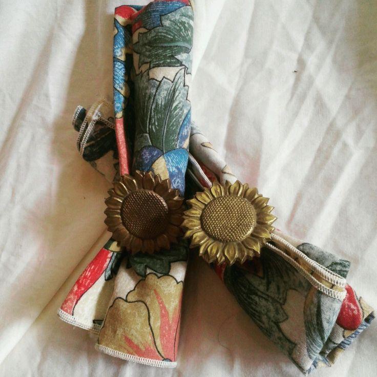 Southwestern Style Napkins & Napkin Rings - Brass Sunflowers by EmilysCraftys on Etsy