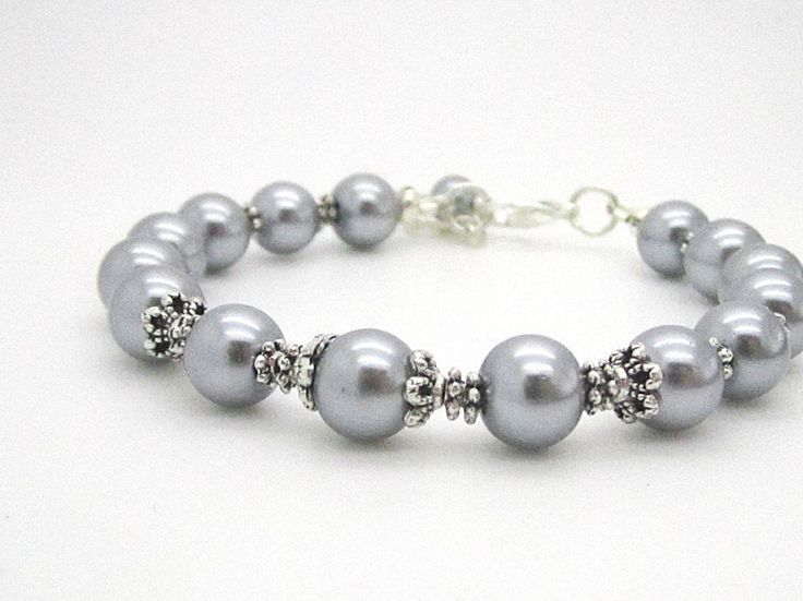 Grey Bridesmaid Bracelet, Silver Pearl Jewellery, Bridal Party Gift, Wedding Accessory, Gray Silver Wedding, Bridesmaid Jewellery by UrbanDaisyBridal on Etsy https://www.etsy.com/listing/181614970/grey-bridesmaid-bracelet-silver-pearl