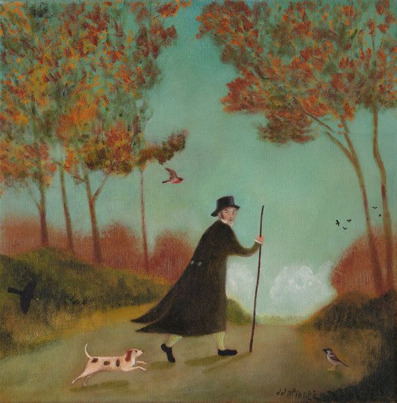 """Original Oil Painting - """"John Clare on the Road from Helpstone to Stamford, Late September, 1811"""""""