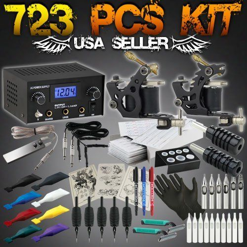 723 Pcs Complete Tattoo Starter Kit Digital Power Supply Needles Grips 8 Color MOM's Ink Shots by GH. Save 34 Off!. $65.95. The 723 Pcs Tattoo Kit includes: 2 tattoo machine, 8 MOM's made in the USA tattoo inkshots, digital power supply, 2 grip, 2 clip cord, stainless steel foot-pedal, 50 pre-sterilized stainless steel tattoo needles, disposable tips, disposable silicone-gel grip with tube and matching tattoo needle, and other accessories for you to get started.  1x Power Supply sy...