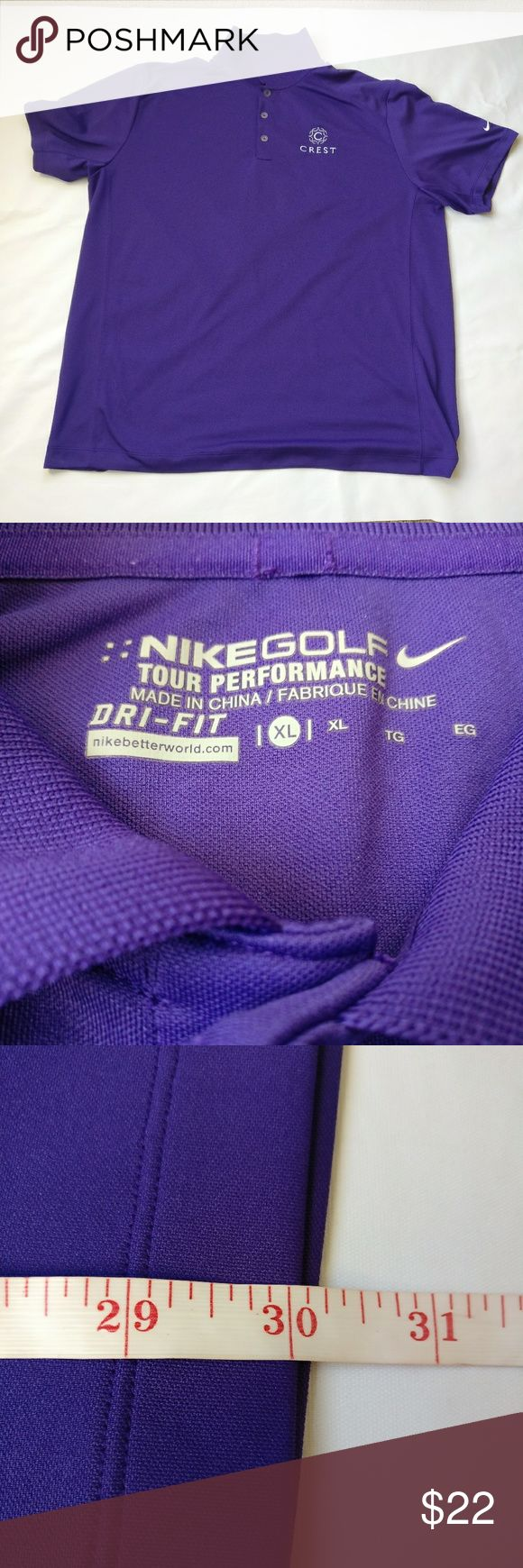 Nike Golf DriFit Tour Performance Xl Purple Polo Gently used before hand. No tears or holes.  TAG SIZE: XL  Perfect for casual wear, during the summer and or spring. Would look great on khakis and or golf shorts out on the golf course.  Length:  25 inches armpit to armpit & 30 inches shoulder to base  Color - Purple Nike Shirts Polos
