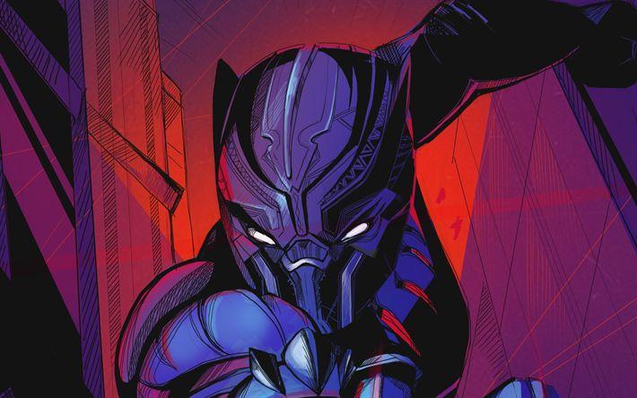 Download wallpapers Black Panther, art, 2018 movie, superheros