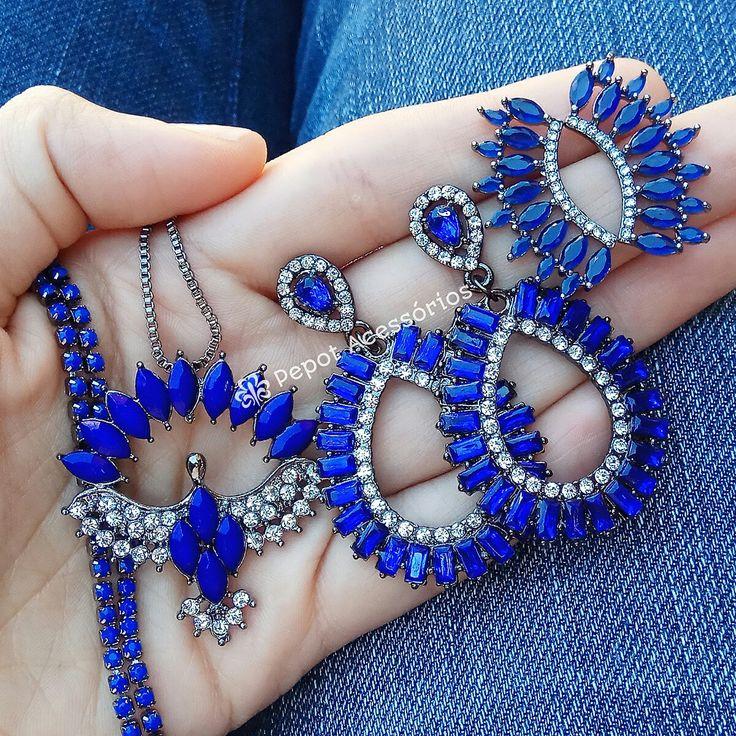 Mix lindo de pedras azuis   ➡ Visite nossa loja http://pepot.com.br e confira todas as cores e modelos disponíveis ⭐ #brincos #colares #earcuff