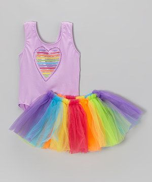 A showcase of fun and fabulousness, the soft and stretchy leotard comes with a colorful nailhead heart. Paired with a radiant rainbow tutu, these pieces make quite a pair for a princess. #kids #clothes $12.99
