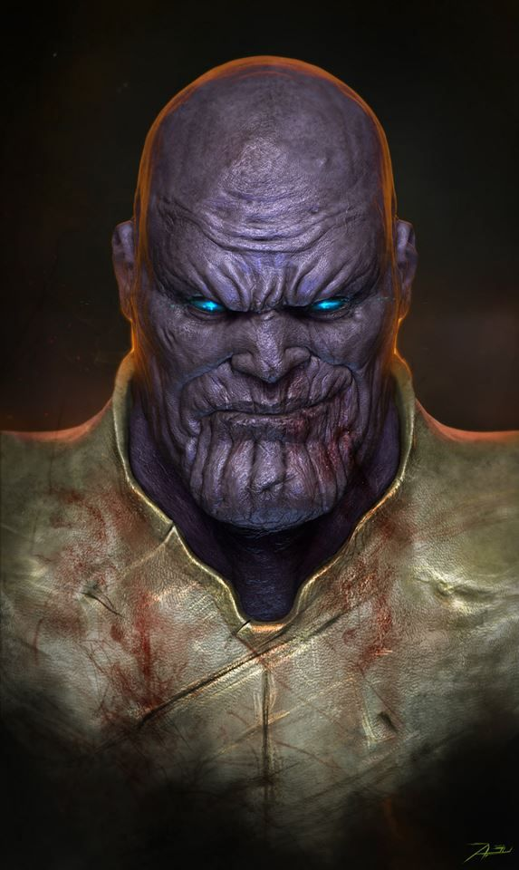 Thanos by Adnan Ali * Thanos has appeared in other Marvel-endorsed products, including animated television series, arcade and video games, toys, trading cards and a cameo at the end of the 2012 film The Avengers.