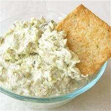 Creamy Artichoke Dip - Zucchini, artichoke hearts, scallions, and garlic in a delicious lower-fat dip.