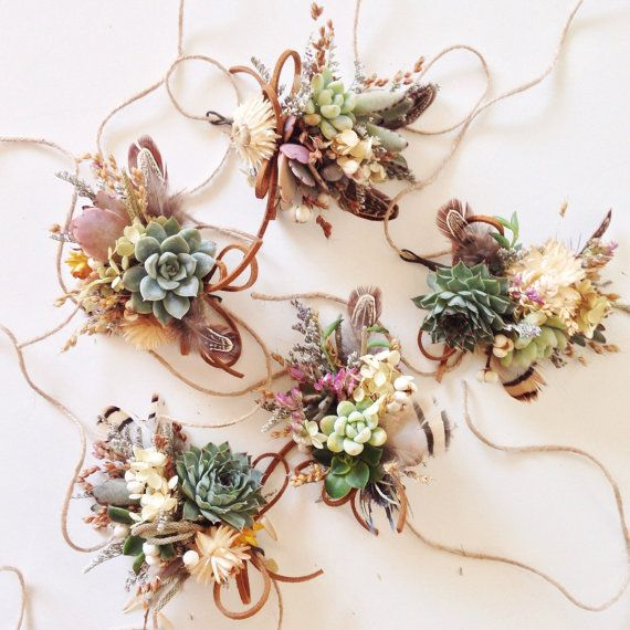 Hey, I found this really awesome Etsy listing at https://www.etsy.com/listing/210037588/succulent-corsage-wildflower