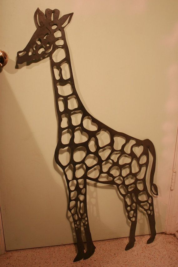 "Massive 35"" Tall Giraffe Plasma Cut Metal Wall Art Hanging Home Decor Rustic"