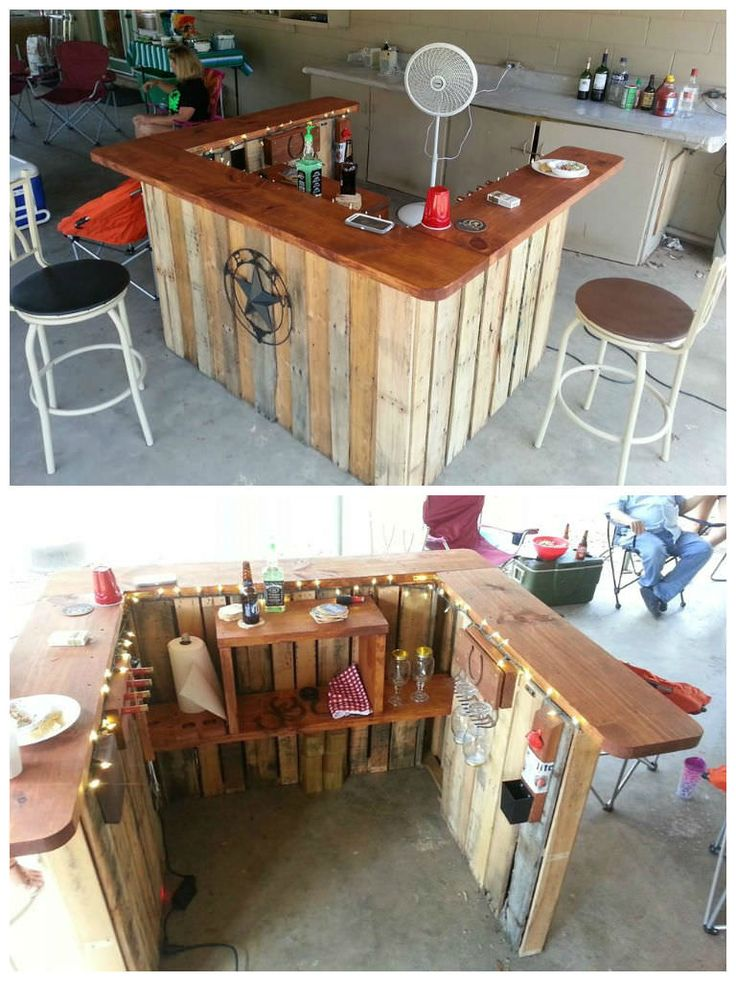 I built this western themed pallet bar using three 48X40 pallets as the base and topped it with a 12&qout;x2&qout; plank. I then added a shelf in the back with rustic decorations like a garden rake and shotgun shell rack.…