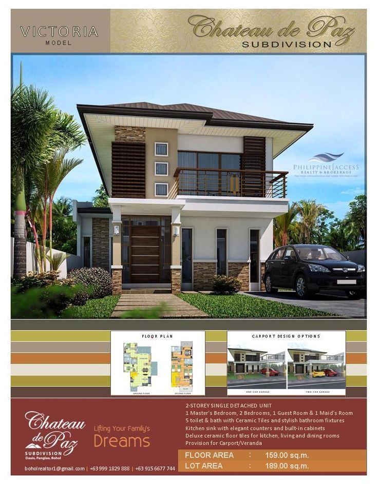 Victoria Model. A Modern Asian Architectural Designed 2-storey pure single detached structure with a Master's bedroom, 2 bedrooms, 1 guest room, 1 maid's room, 5 toilet and baths and an option for a 1 or 2 car garage. Lot area is 189 sq.m. land with a floor area of 159 sq.m.
