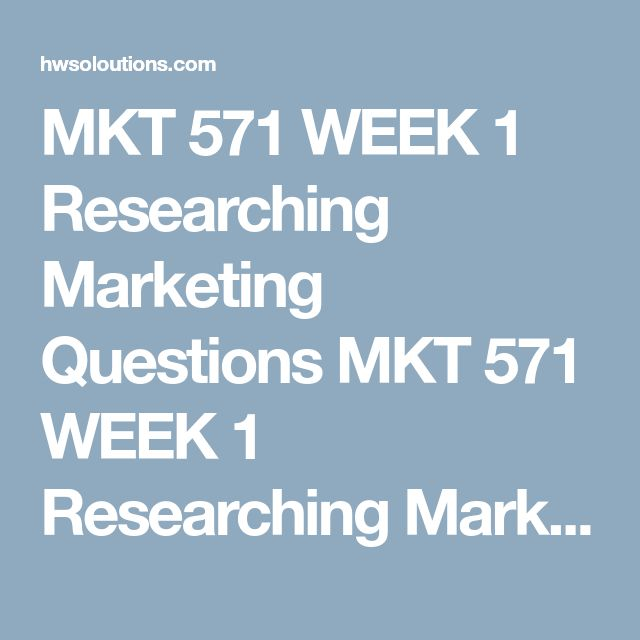MKT 571 WEEK 1 Researching Marketing Questions MKT 571 WEEK 1 Researching Marketing Questions Purpose of Assignment  This assignment is designed to help students analyze and interpret primary and/or secondary data and research. First, students will be provided with a marketing report that allows for preparing basic executive level data insights. Second, they will be allowed to pick a company and product or service. This assignment will help prepare students for the development of their…