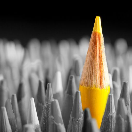 Yellow pencil...in a sea of grey. It's good to be different.