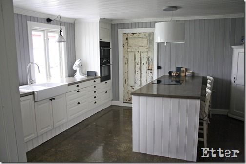 Kitchen with concrete floors and counter tops made of concrete. Ikea, kjøkken, betong