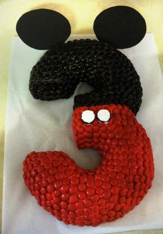Mickey+Mouse+Number+3+Cake