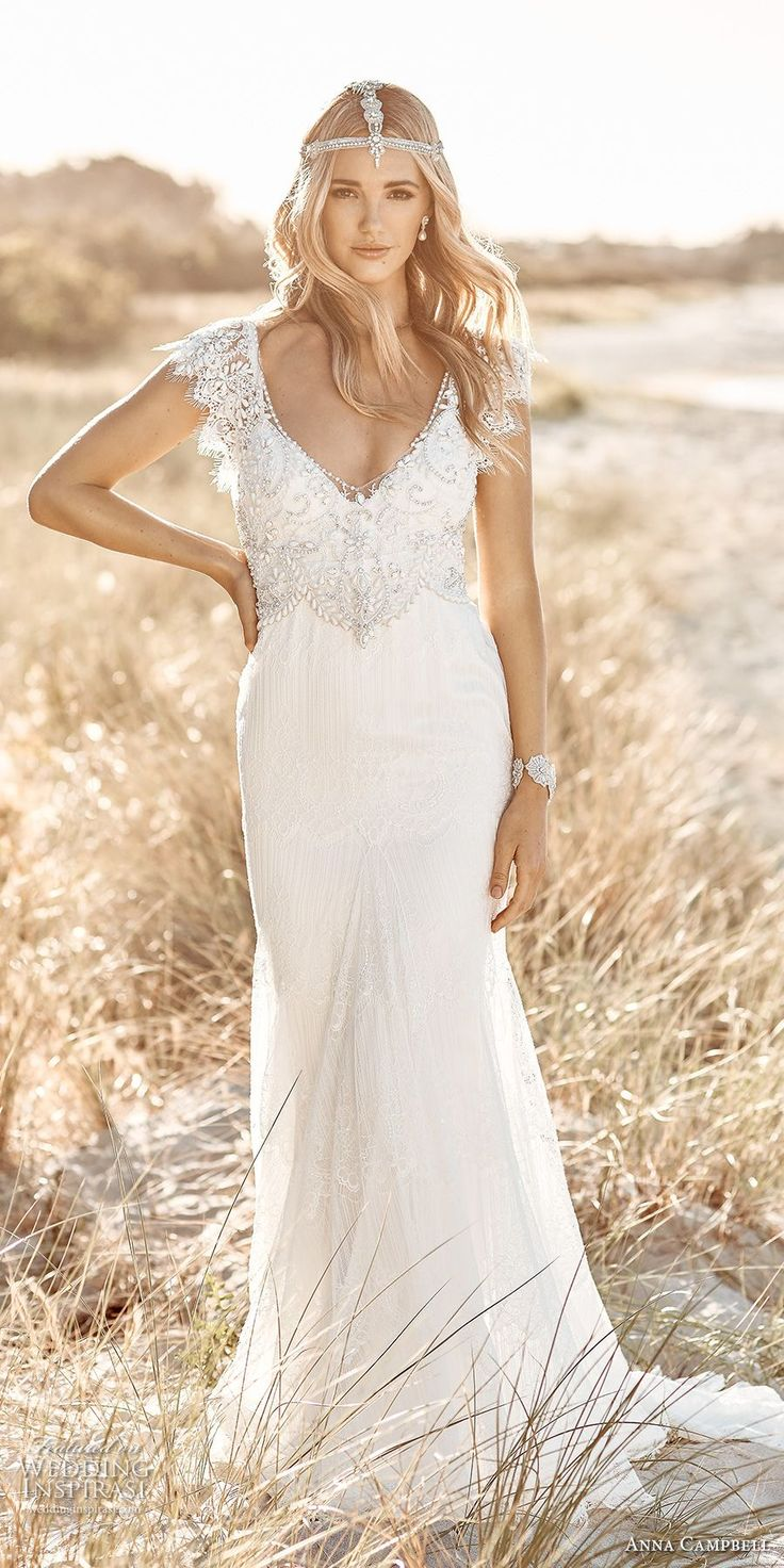 anna campbell 2017 bridal short butterfly sleeves scoop neck heavily embellished bodice romantic elegant sheath wedding dress open back chapel train (ruby) mv
