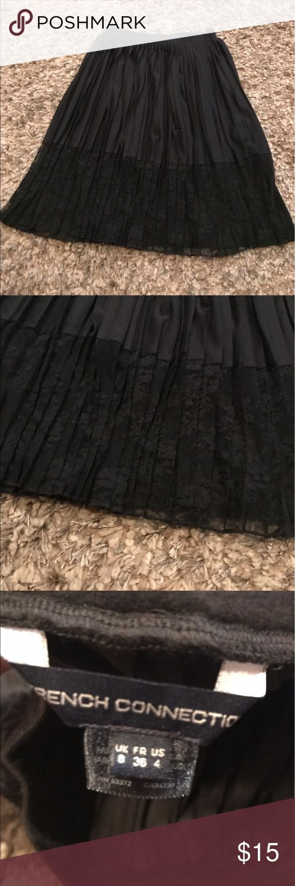 French Connection skirt French connection black skirt with lace bottom in good condition no rips tears or stains French Connection Skirts A-Line or Full