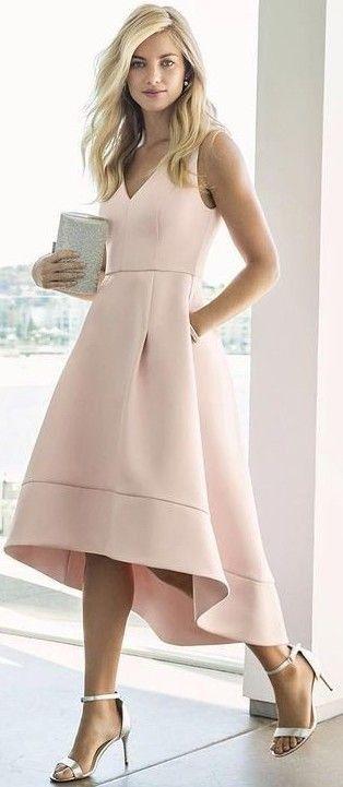 #summer #elegant #feminine |  Nude High Low Prom Dress