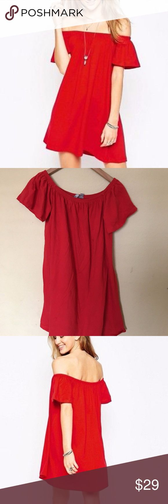 ASOS CURVE RED OFF SHOULDER DRESS Just the cutest red dress! Perfect off the shoulder dress. Love the idea of pairing this with a really cute pair of boots! 100% cotton. Please see pictures for measurements. Stock H ASOS Curve Dresses