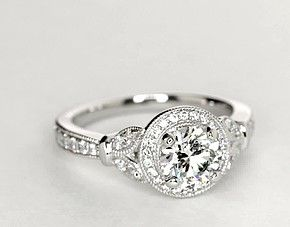 Monique Lhuillier Vintage Floral Halo Diamond Engagement Ring in Platinum (1/4 ct. tw.) 1.3-1.9 ct on halo