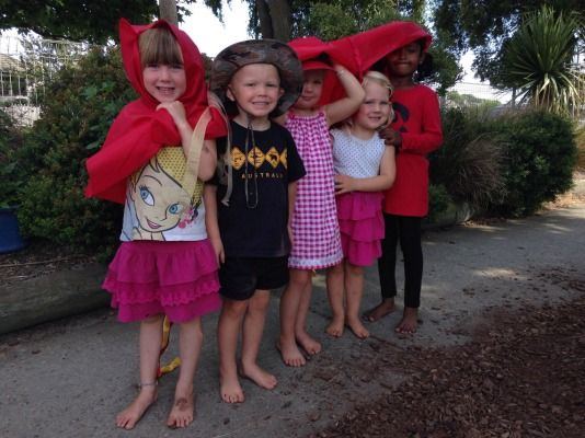 Rhona Day Kindergarten children, from left, Ruby Lyon, Ben Smith, Sharn Elliot, Rio Swete and Delisha Singh get ready to walk as a dragon. The Temuka kindy was celebrating Chinese New Years.