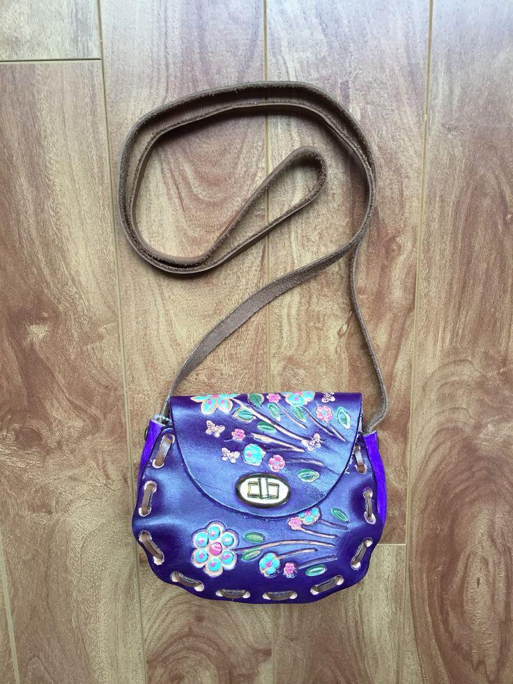 Vintage 70s Bag Tooled Leather Purple Crossbody Purse Handmade Flower Handbag by Matchyvintage on Etsy