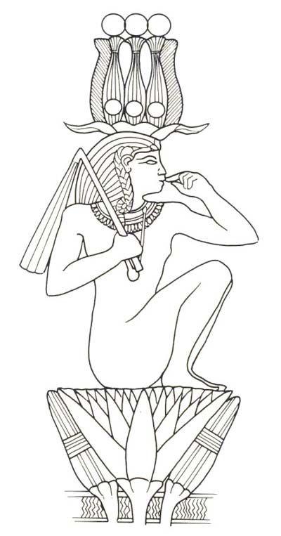 Fig. 4. Rey-sol emergiendo del loto. Dibujo en R.H. WILKINSON, Todos los dioses del Antiguo Egipto, Madrid, 2003, p. 132