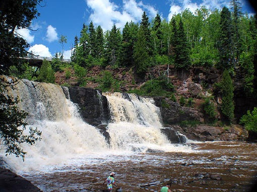 Gooseberry Falls, Minnesota. Great place to go every season, easy walking pathways for the physically disabled or people with small kids/babies. Cool history - built by F.D.R.'s Civilian Conservation Corps. - K.M.