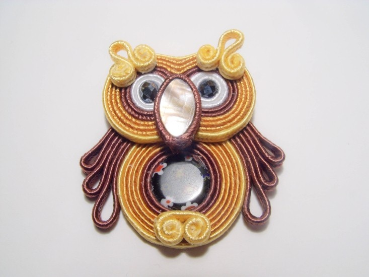 Wise and Lucky Soutache Baby Owl