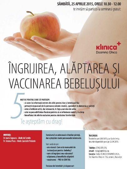 """Venirea pe lume a unui bebeluș este prilej de mare bucurie. In acelasi timp, înseamnă și o mare provocare pentru viitori părinți. Teamă, neliniste, o mulțime de întrebări și scenarii... Poti primi raspunsuri de la medici, specialisti si alti parinti la seminarul gratuit: """"Ingrijirea, alaptarea si vaccinarea bebelusului"""". Mai multe detalii, aici: http://goo.gl/1HZV8V"""