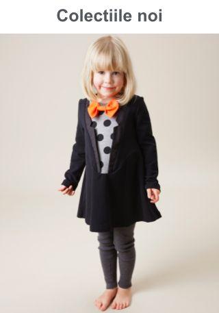 ROCHIE  cu papion portocaliu pentru fetite pana la 7 ani. Brand : BANG BANG COPENHAGEN