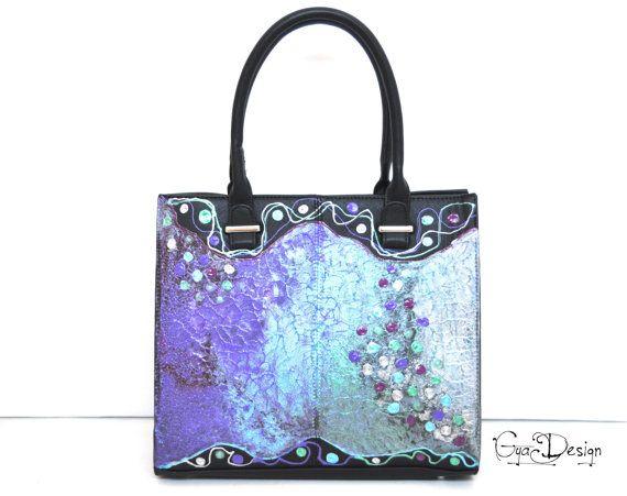 RESERVED Black handbag hand painted lilac green by GyaDesign
