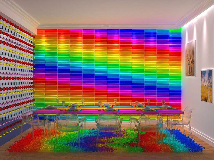 Väriä kokoustilaan. #3Dpaneelit #tehosteseinä #sateenkaari