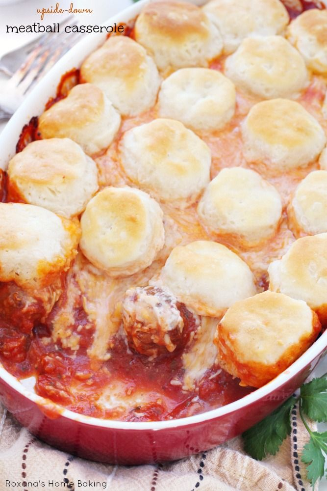 A simple recipe for upside down meatball casserole. 15 minutes of prep time. Easy family dinner idea.