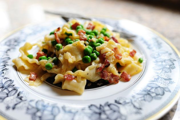 Easy, delicious pasta carbonara. We made this twice in the last week -- love!! Our new go-to meal!