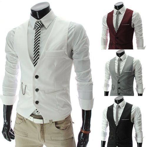 I REALLY like this one ---- Mens Wedding Waistcoat Formal Casual Sleeveless Suits Fitted Tuxedo Dress Vests | eBay