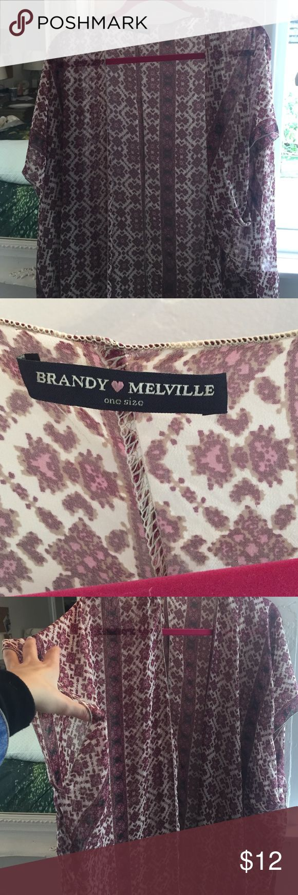 Brandy Melville cardigan/over slip Super cute brandy cardigan. Barely worn. One size Brandy Melville Sweaters Cardigans