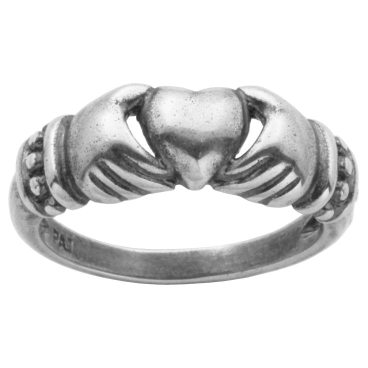 Oxidized Sterling Silver No Stone Claddagh Ring, Size 7, Women's, Dark Silver