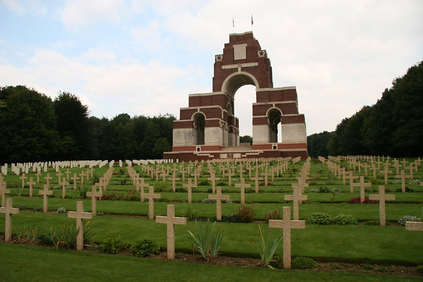 The British war memorial at Thiepval dedicated to their fallen soldiers at the Battle of the Somme (WW1).  The columns of the memorial are inscribed with the names of 73,367 British and South African soldiers whose remains were never found.