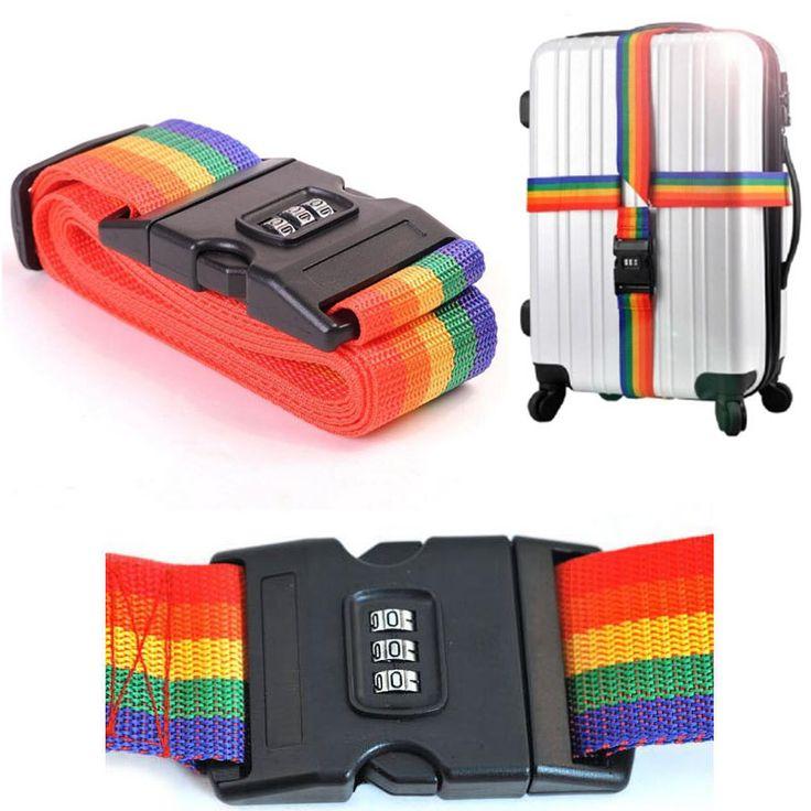 Free Shipping 1pcs Minorder Rainbow Travel Luggage Suitcase Strap Luggage suitcase Secure Lock Safe Belt Strap 2m baggage Belt