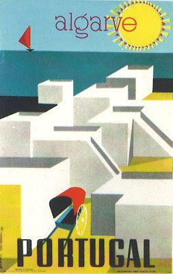 Cartaz promocional do Algarve, década de 60 do séc. XX. Paisagem: Olhão