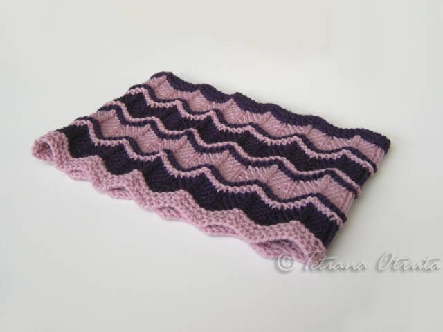Pink purple cowl hand knit loop scarf  wool infinity scarf chevron stripes neckwarmer gift girl teen women by Otruta on Etsy