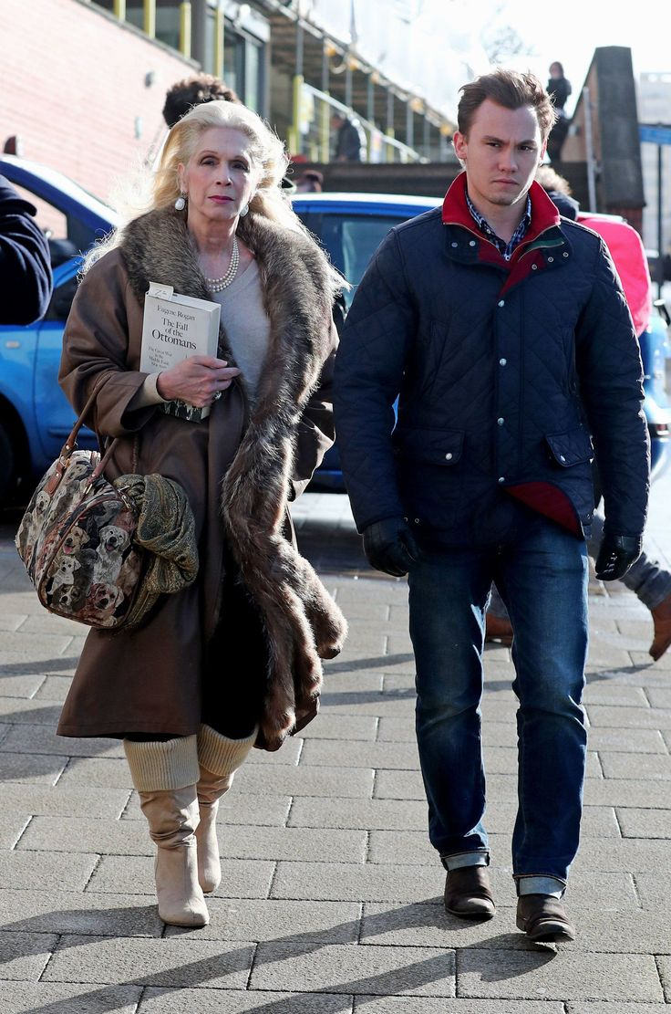 Lady Colin Campbell arrives with her son Dima Ziadie at Brighton and Hove Magistrates' Court in Brighton where she is due to appear for allegedly driving without due care and attention. PRESS ASSOCIATION Photo. Picture date: Thursday February 23, 2017. See PA story COURTS Campbell. Photo credit should read: Gareth Fuller/PA Wire