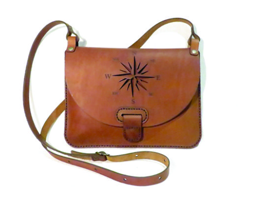 COMPASS 25cm X 18cm CROSSBODY CLUTCH BAG Genuine leather, Laser cut, Hand stitched