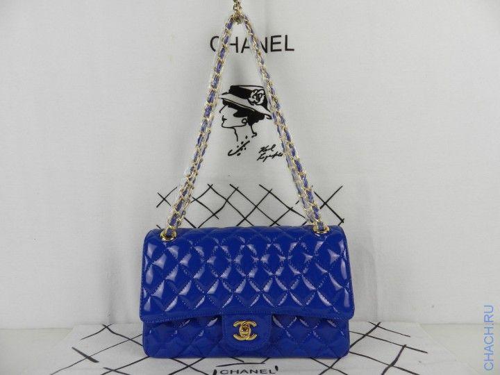 Сумка Chanel Flap Bag синяя лаковая на цепочке с золотистой фурнитурой