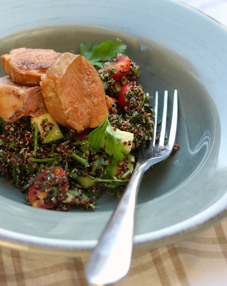 Soy Marinated Pork Fillet with Quinoa Tabbouleh