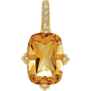 Celebrate November Birthdays with this Diamond Accented Citrine Pendant! Click through for product details OR to locate a jeweler near you. #HowIStuller #HBDNovember