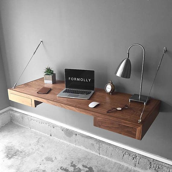 Floating Desk With Storage - Walnut - Wall Mounted Desk - Wall Desk -  Industrial Desk