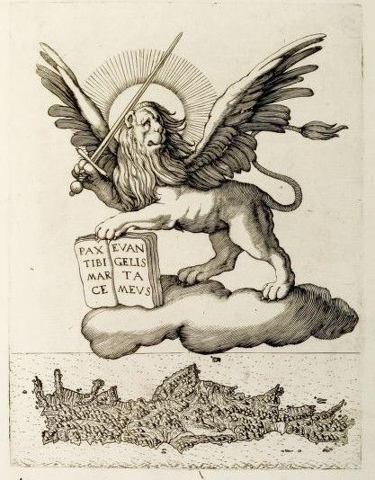 The winged lion of St. Mark, symbol of the Republic of Venice above the island of Crete.