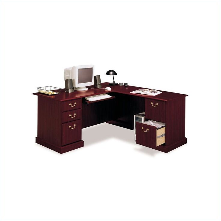 home office table writing desk bush shape executive harvest cherry