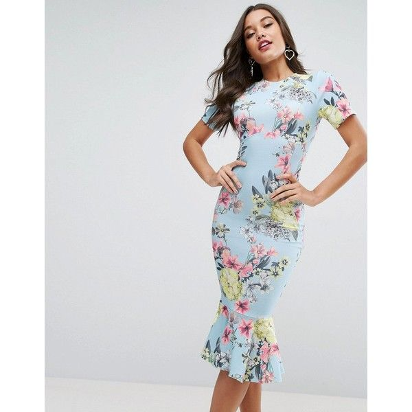 ASOS T-Shirt Floral Midi Dress With Pephem ($60) ❤ liked on Polyvore featuring dresses, multi, party dresses, short sleeve prom dresses, floral midi dress, bodycon prom dresses and midi dress